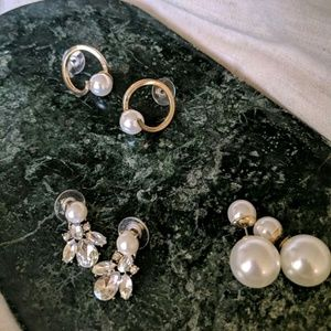 3sets of pearl earrings!!